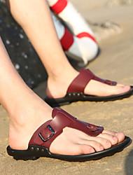 Zapatos de Hombre - Sandalias - Casual - Semicuero - Negro / Rojo
