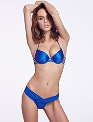 The Fille Women's Sexy Bombshell Push-up/Padded Underwire Bras/Solid Brillant Blue Halter Tops of Bikinis