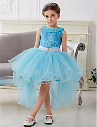 Ball Gown Asymmetrical Flower Girl Dress - Cotton / Tulle Sleeveless Jewel with
