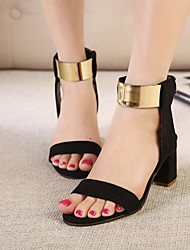 Women's Classic Pure Color Metal Low Heel Sandals Peep Toe Shoes
