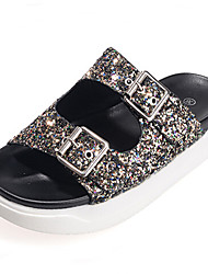 Women's Shoes Glitter Platform Round Toe Sandals Casual Silver/Gold