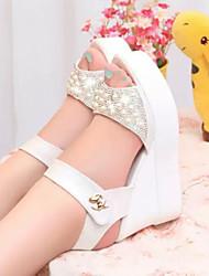 Women's Shoes Wedge Heel Peep Toe Sandals Dress White/Silver