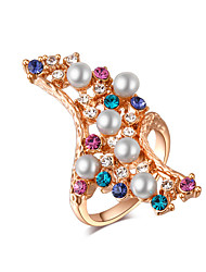 Party/Casual Gold Plated/Korean Style Colourful Alloy/Cubic Zirconia Statement Ring