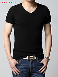 Quality Cotton 2015 Men Short Sleeve Sport Men T-Shirt V-Neck Size M-3XL