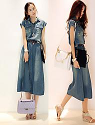 Women's Tailored Collar Dresses , Cotton/Denim Casual Short Sleeve Tracy