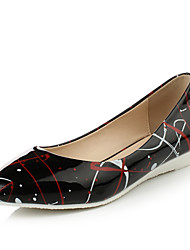 Women's Shoes Patent Leather Wedge Heel Comfort/Pointed Toe Flats Dress Black/White
