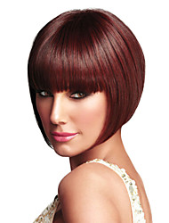Fashion Short Bobo Wig Wine Red With Full Bangs