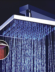 8 Inch Square Chrome Overhead LED Rainfall Shower Head With 3 Colors Changing LED
