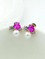 Earring Stud Earrings / Drop Earrings Jewelry Women Imitation Pearl / Rhinestone / Gold Plated 2pcs Gold / White