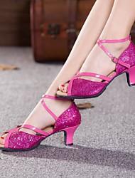 Non Customizable Women's Dance Shoes Latin Paillette Cuban Heel Outdoor  More  Colors
