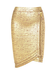 Women's Rose Gold Foil Bandage Skirt with Zip Detail