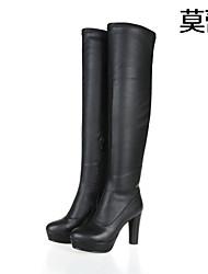 Calçados Femininos Couro Anabela Saltos/Botas da Moda Plataformas / Saltos/Botas Escritório & Trabalho/Casual/Festas & Noite Preto