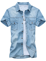 Men's Pure Short Sleeve Top , Denim Casual