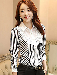 Women's Formal Simple Summer Shirt,Striped Round Neck Long Sleeve White Medium