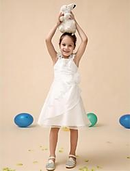 Ball Gown Tea-length Flower Girl Dress - Satin / Tulle Sleeveless Jewel with