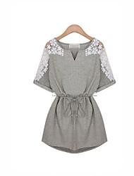 casual / bonito / partido / o trabalho das mulheres / mais tamanhos micro-elástica ½ manga comprimento mini vestido (algodão)