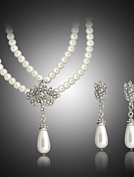 Pearl Jewelry Set include Necklace & Earrings for Wedding Party