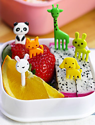 10pcs Animal Shaped Bento Kawaii Animal Food Fruit Picks Forks Lunch Box Accessory Decor Tool (Random Color)