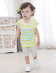 Boy's Summer Stripes Short Sleeve Clothing Sets (Cotton)
