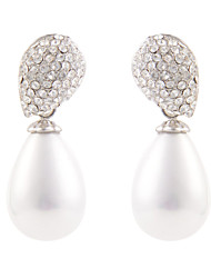 Glamorous Leaf Top Teardrop Shell Pearl Dangle Earrings