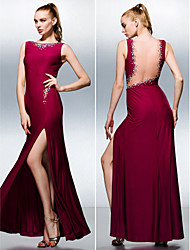 TS Couture® Formal Evening Dress - Furcal Plus Size / Petite Sheath / Column Bateau Floor-length Knit with Beading