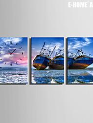 barche sulla spiaggia orologio in tela di canapa 3pcs