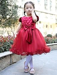 Цветочница платье - Бальное платье Длина до колен Короткие Атлас/Тюль