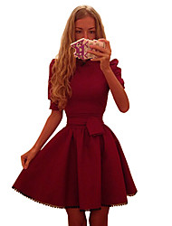 Women's Solid Red Dress , Vintage Round Neck ½ Length Sleeve