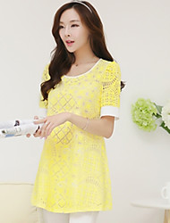 Women's Casual Inelastic Short Sleeve Regular Blouse (Chiffon/Lace)