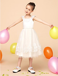 Flower Girl Dress Tea-length Lace/Satin/Tulle Ball Gown Sleeveless Dress(Headpiece Not Include)