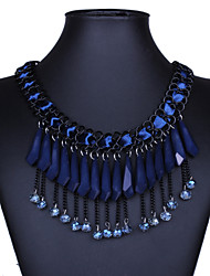 Europe and the United States big exaggerated tassel necklaces multi-layer resin droplets woven clavicle necklace with # 0311