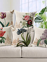 Set of 5 Country Style Flowers Patterned Cotton/Linen Decorative Pillow Cover