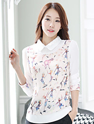 Women's Casual Pan Collar Print Long Sleeve Regular Blouse (Chiffon)