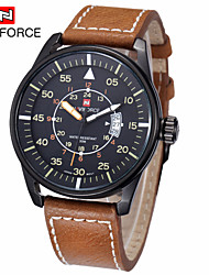 Men's Wrist watch Quartz Japanese Quartz Calendar Water Resistant / Water Proof Sport Watch Leather Band Black Brown Brand NAVIFORCE