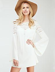 W.W.W  Women's Round Dresses , Chiffon Sexy/Casual Long Sleeve