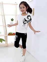 Girl's Cotton/Polyester Leisure Cartoon Fox Print Short Sleeve Clothing Set