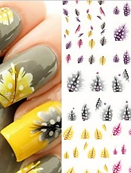 5PCS Water Transfer Printing Feather Nail Stickers