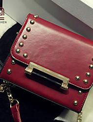 venta caliente handcee® sencilla mujer diseño de la bolsa de la PU del remache del hombro