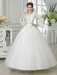 Ball Gown Floor-length Wedding Dress -V-neck Satin