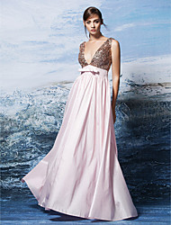 Formal Evening Dress - Blushing Pink Plus Sizes / Petite A-line V-neck Floor-length Sequined / Polyester