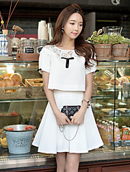 Women's Casual Short Hoodies , Short Sleeve Lace/Spandex/Polyester Medium