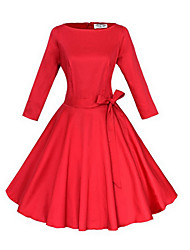 Damen Skater Kleid-Party/Cocktail Retro Solide Bateau Knielang ¾-Arm Blau / Rot / Schwarz Baumwolle / Andere Alle SaisonsMittlere