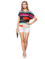 Women's Casual Loose Colorful Stripes Bat Sleeve Chiffon Blouse Summer Tops T-shirt Plus Size