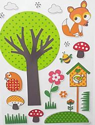 fleurs et arbres station animale autocollants en mousse 3d