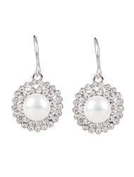 Elegant Platinum Disk Shape Shell Pearl Dangle Earrings