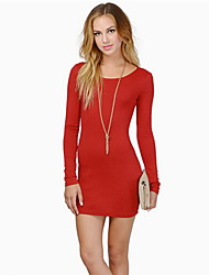 Women's Round Neck Backless Dress , Polyester Above Knee Long Sleeve