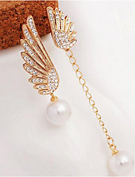 Women's Drop Earrings Elegant Mismatch Pearl Imitation Pearl Rhinestone Imitation Diamond Alloy Wings / Feather Jewelry For Party Daily