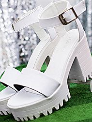 Women's Shoes Chunky Heel Open Toe Sandals Dress Black/White