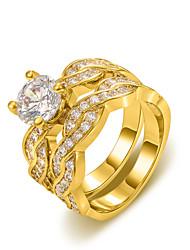 z & x® europa estilo torção dupla fileira instrução zircão anéis de casamento / partido / diária