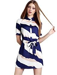 De las mujeres Vestido Mini Escote Chino - Raso - Manga Corta